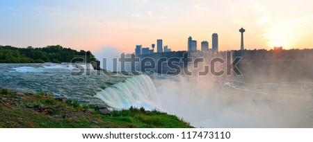 Niagara Falls sunrise panorama in the morning closeup - stock photo
