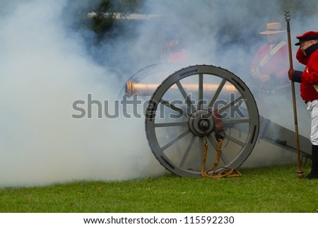 NIAGARA, ON - OCT 13, 2012: Re-enactment of the Battle of Queenston Heights as part of the Bicentennial of the War of 1812on October 13, 2012 in Niagara, ON. - stock photo
