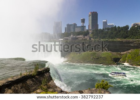 NIAGARA,USA-AUGUST 10,2013:people on American vantage point on the Niagara Falls admire the show on a sunny day