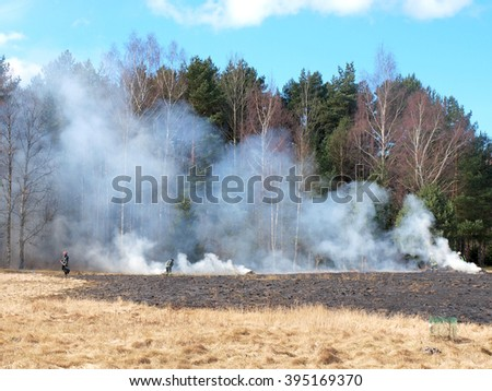 NICA, LATVIA - MARCH 22, 2016: Firefighters are extinguishing old dry grass fire what begins near forest and country house.      - stock photo