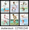 NICARAGUA - CIRCA 1987: A set of postage stamps printed in NICARAGUA shows tennis, series, circa 1987 - stock photo