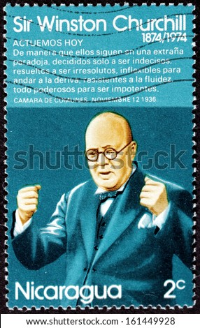 NICARAGUA - CIRCA 1974: a stamp printed by NICARAGUA shows image portrait of famous British politician, Prime Minister of the United Kingdom Sir Winston Churchill, circa 1974 - stock photo