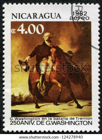 NICARAGUA - CIRCA 1982: A stamp printed in Nicaragua celebrates the 250th anniversary of George Washington , circa 1982 - stock photo