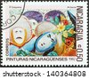 "NICARAGUA - CIRCA 1982: A stamp printed in Nicaragua from the ""Paintings "" issue shows El Gueguense (M. Garcia), circa 1982. - stock photo"
