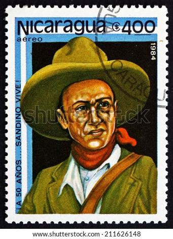 NICARAGUA - CIRCA 1984: a stamp printed in Nicaragua shows Augusto Cesar Sandino, Revolutionary and Leader, National Hero, circa 1984 - stock photo
