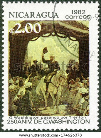 NICARAGUA - CIRCA 1982: A stamp printed in Nicaragua shows George Washington (1732-1799), Riding through Trenton, 250th birth anniversary, circa 1982 - stock photo
