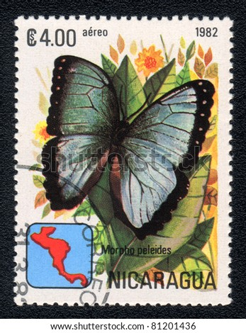 NICARAGUA - CIRCA 1982: A Stamp printed in NICARAGUA shows image of a  butterfly Peleides Blue Morpho (Morpho peleides), circa 1982