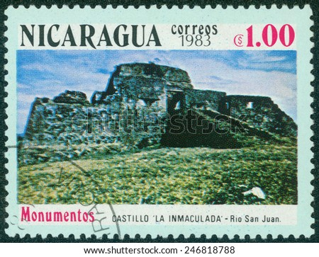 NICARAGUA - CIRCA 1983: A stamp printed in Nicaragua shows the castle La inmaculada in Rio San Juan, one stamp from series, circa 1983. - stock photo