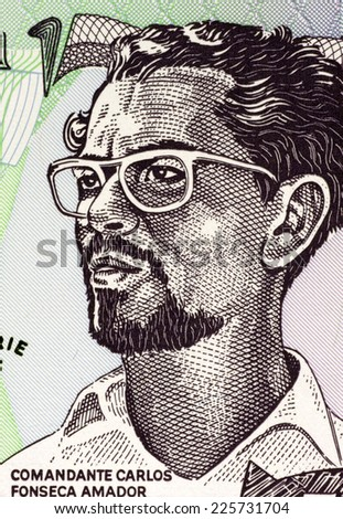 NICARAGUA - CIRCA 1984: Carlos Fonseca (1936-1976) on 50 Cordobas 1984 Banknote from Nicaragua. Nicaraguan teacher and librarian who founded the Sandinista National Liberation Front.  - stock photo