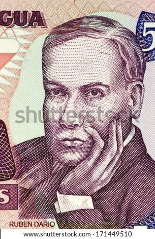 NICARAGUA - CIRCA 1985: Ruben Dario (1867-1916) on 500 Cordobas 1985 Banknote from Nicaragua. Nicaraguan poet. - stock photo