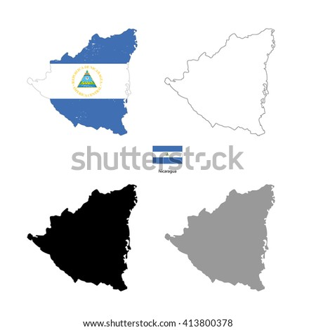 Nicaragua country black silhouette and with flag on background, isolated on white - stock photo