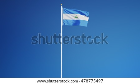 Nicaragua flag waving against clean blue sky, long shot, isolated with clipping path mask alpha channel transparency
