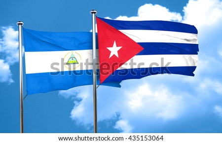 nicaragua flag with cuba flag, 3D rendering