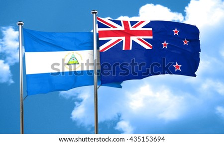 nicaragua flag with New Zealand flag, 3D rendering