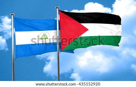 nicaragua flag with Palestine flag, 3D rendering