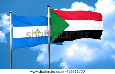 nicaragua flag with Sudan flag, 3D rendering