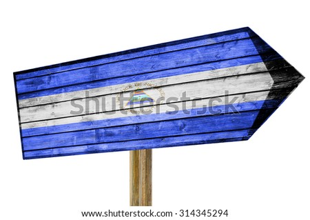 Nicaragua Flag wooden sign isolated on white - stock photo