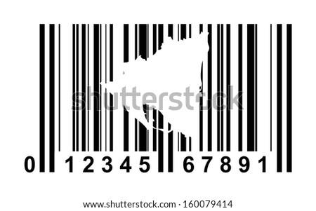 Nicaragua shopping bar code isolated on white background.