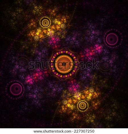 Nice abstract colorful shapes on black background - stock photo
