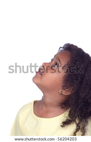 Nice african little girl looking up isolated on white background - stock photo