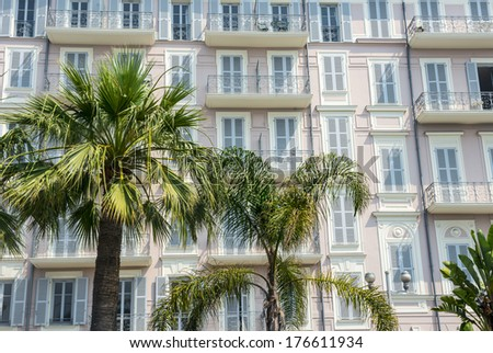 Nice (Alpes-Maritimes, Provence-Alpes-Cote d'Azur, France), facade of a grand hotel - stock photo