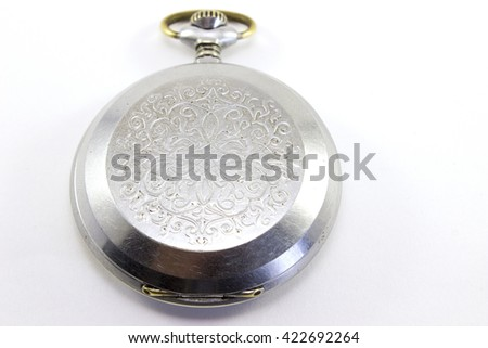 Nice an old pocket watch on white background - stock photo