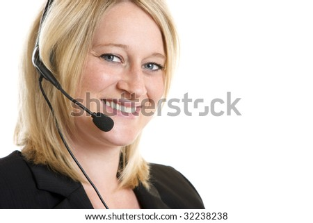 Nice and charming call center agent talks friendly to customer