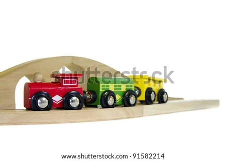 Nice and colorful wooden toy train