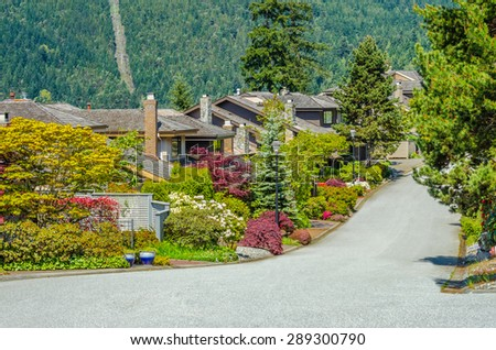 Nice and comfortable great neighborhood. Some homes on the empty street in the suburbs of Vancouver, Canada.