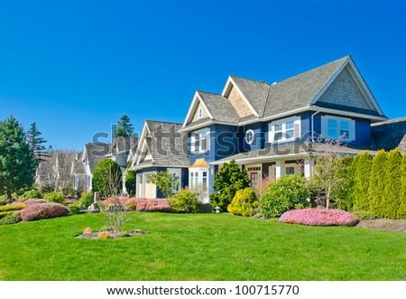 Nice and comfortable neighborhood in suburbs of  Vancouver.  Canada. - stock photo