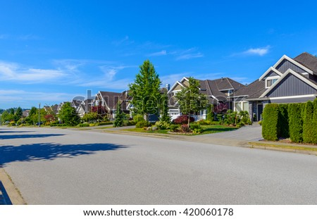 Nice and comfortable neighborhood in the suburbs of Vancouver, Canada. - stock photo