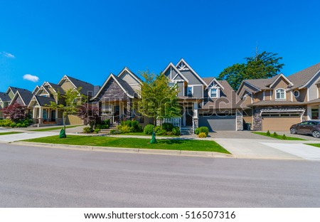 Nice Comfortable Neighborhood Some Houses On Stock Photo ...