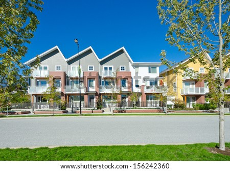 Nice and comfortable neighborhood. Townhouses, homes in the suburbs of Vancouver. Canada. - stock photo