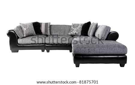 Nice and cozy felling of the luxury leather and fabric sofa in dark brown color - stock photo
