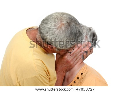 nice and happy mature couple kissing - stock photo