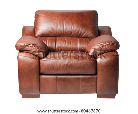 Nice and luxury leather armchair fit your living room an image isolated  - stock photo