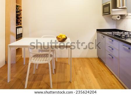 Nice apartment, interior, comfortable domestic kitchen - stock photo
