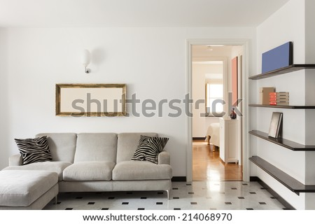 Nice apartment, interior, comfortable living room - stock photo