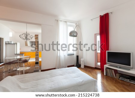 Nice apartment, interior, comfortable living room, parquet floor