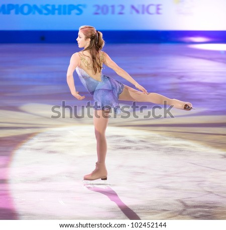NICE - APRIL 1: Ashley Wagner of the USA skates during gala exhibition at the ISU World Figure Skating Championships, held on April 1, 2012 in Nice, France - stock photo