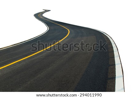 Nice asphalt road isolated on white background. - stock photo