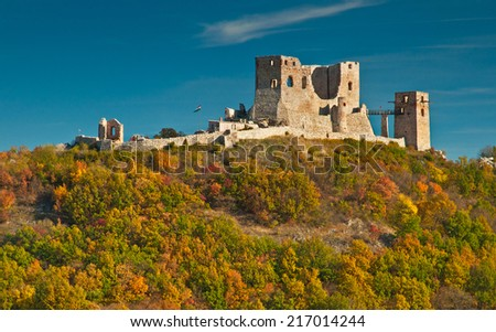 Nice autumnal scene with the ruins of the castle of Csesznek, Hungary  - stock photo