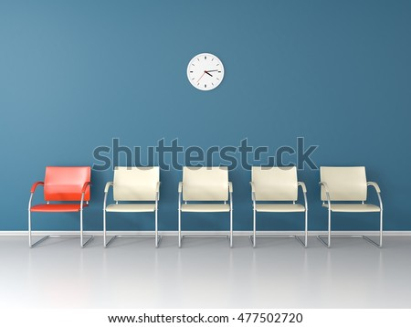 Nice blue waiting room with one different red chair and four white chairs 3D render