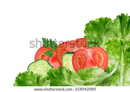 Nice border made from freshness lettuce leaves and sliced vegetables - stock photo