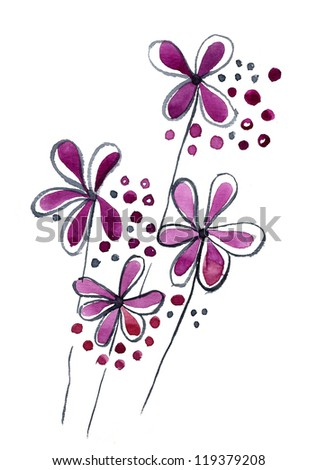 Nice Bouquet of watercolor flowers isolated on a white background - stock photo