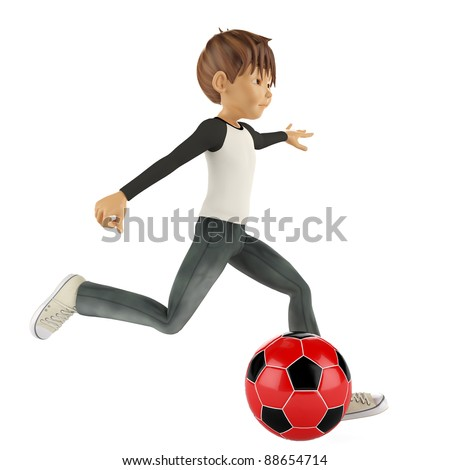 nice boy playing football - stock photo
