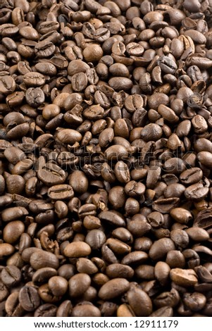 Nice brown Coffee beans as a background - stock photo
