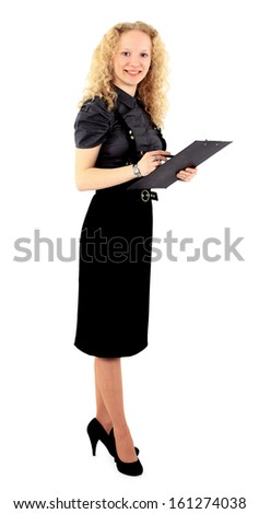 Nice business woman blonde with a report in his hands . Isolated on a white background.