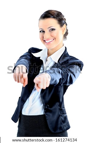 Nice business woman pointing fingers. Isolated on a white background. - stock photo