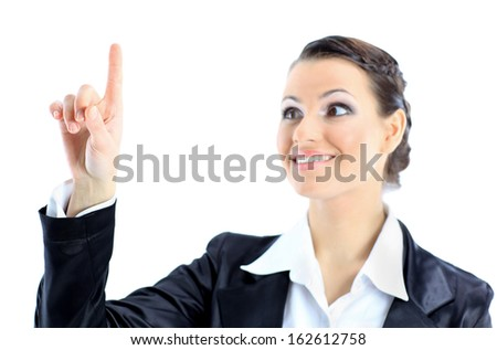 Nice business woman points a finger up. Isolated on a white background. - stock photo